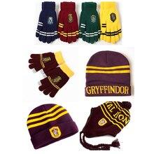 Сенсорные перчатки шапка с наушниками Гриффиндор/Слизерин/Hufflepuff/Ravenclaw перчатки шляпа Хэллоуин Рождественский подарок
