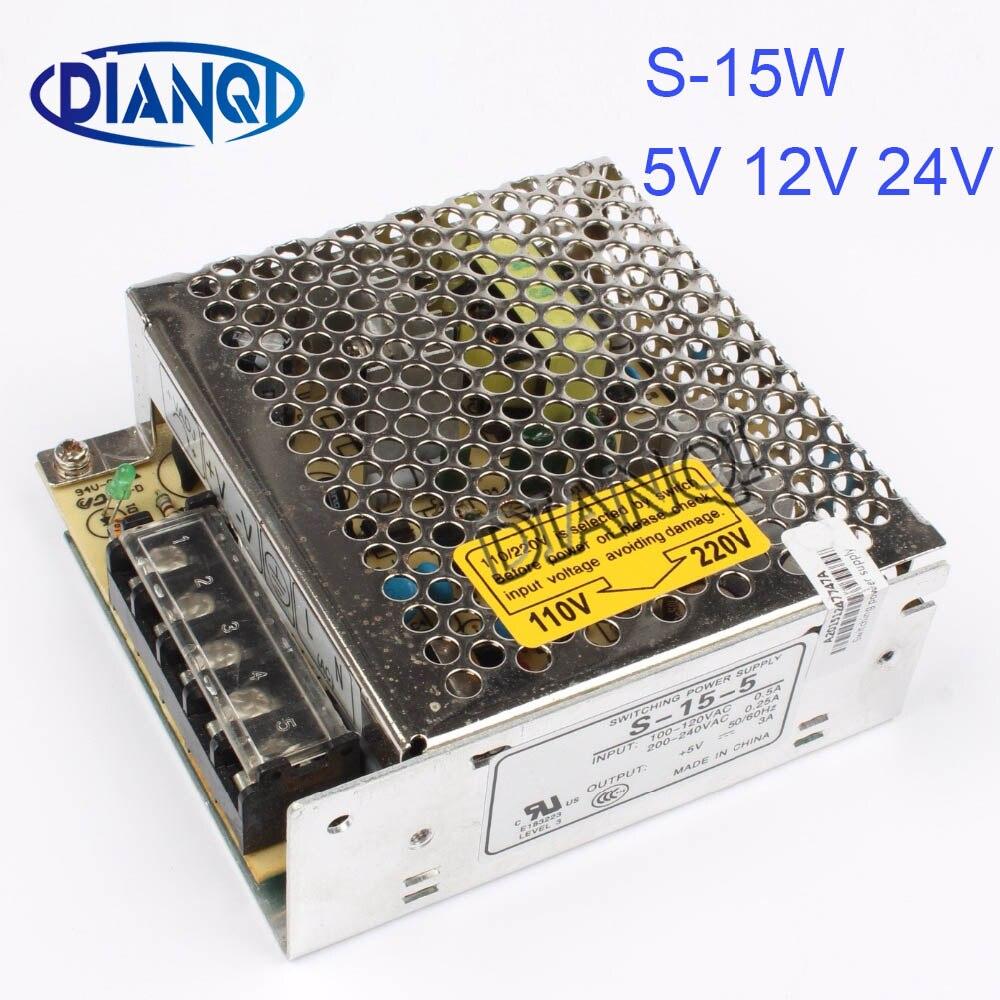 DIANQI S-15-5 led power supply unit 15W 5V 12V 24V 3A ac dc converter variable dc voltage regulator adjustable output voltage s 200 9 led power supply switch 200w 9v 22 2a unit ac dc converter 9v variable dc voltage regulator adjustable output voltage