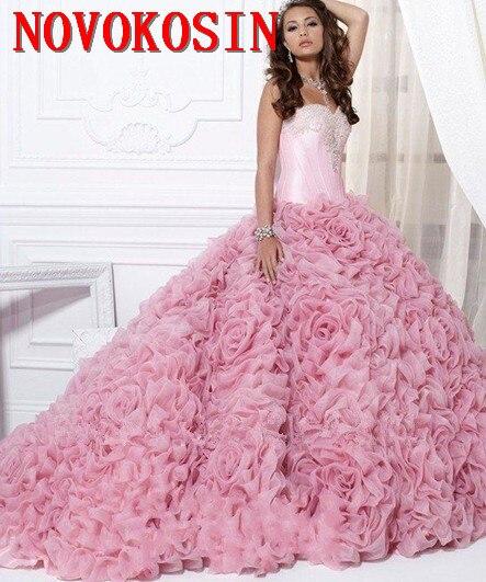 0f42b1852 2019 nueva Rosa flor 16 fiesta de Debutantes vestidos hinchado tul  cristales cuello corsé 2019 Plus tamaño vestido de Quinceanera