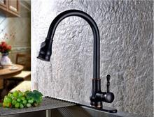 Новое поступление высокое качество однорычажный ШАР закончил Кухонный кран кухонный смеситель с выдвижной душ голову и пластины