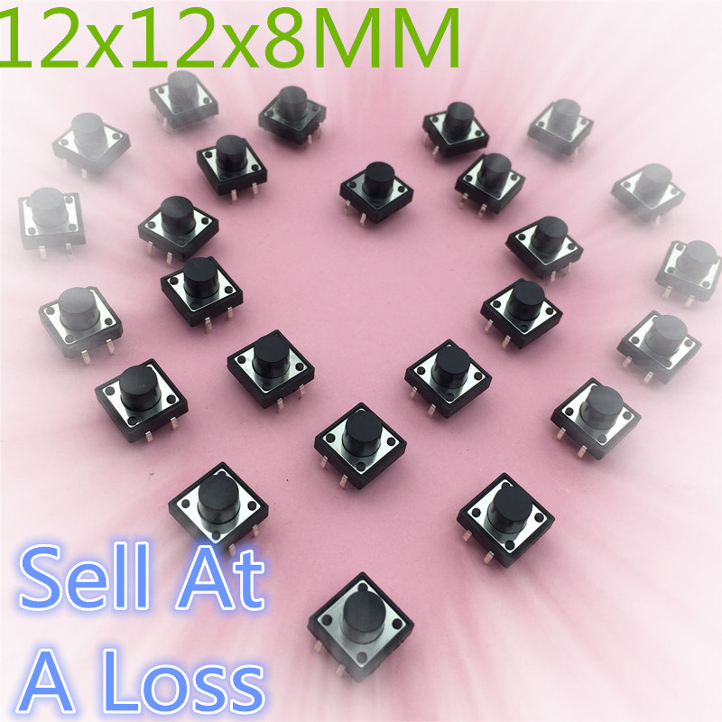 30pcs 12x12x8MM 4PIN G85 Tactile Tact Push Button Micro Switch Self-reset New DIP Top Copper High Quality Sell At A Loss USA