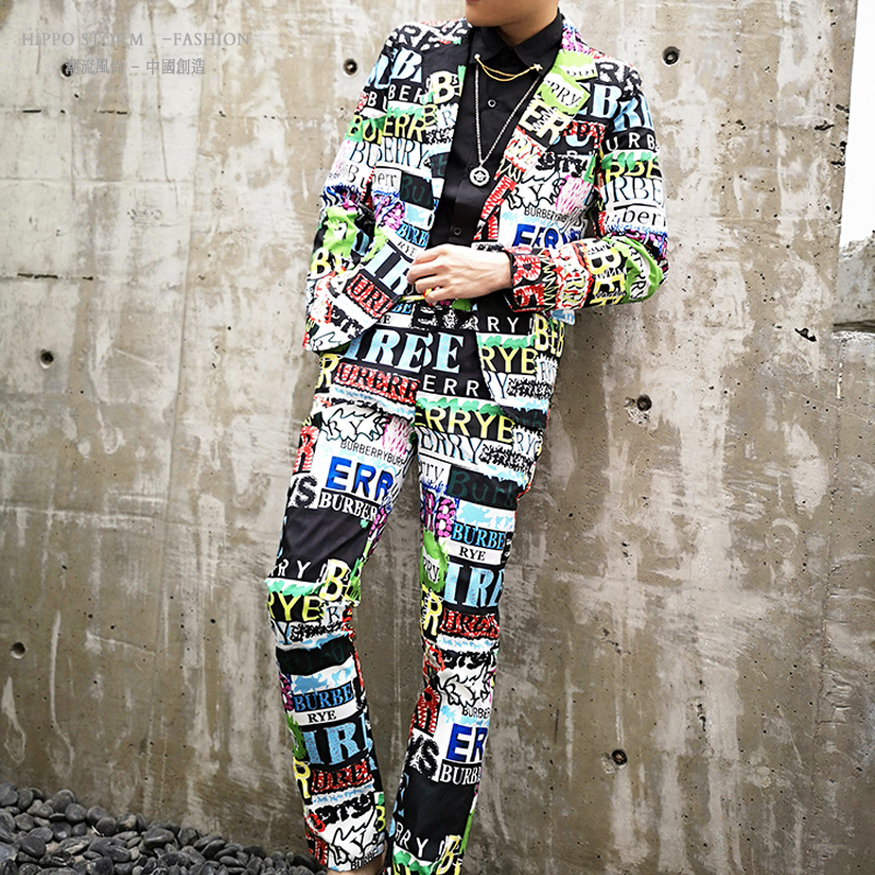 M-6XL!!Personality Printing Color Letters Hip Hop Style Suit Suit Korean Version Of The Nightclub Singer Host Tidal Suit.