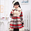 Warm Winter Girls Coat Fur Collar Wool Long Outwear Children Winter Coat 2017 Girls Clothes For 6 8 10 12 14 Years AKC166003