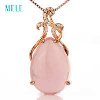Natural Rose Quarts Pendant 925 Silver Pears 13mm 18mm Pink Color Lovely And Romantic Pendant For
