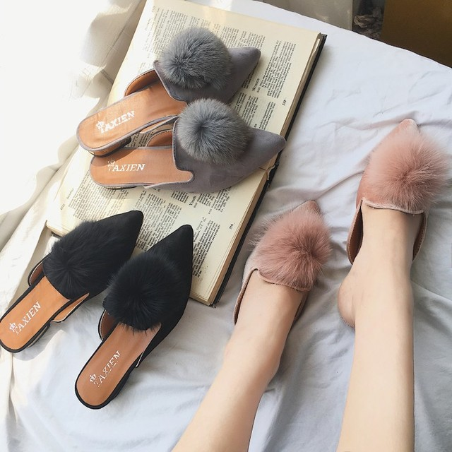 33f979164 Mules shoes fur ball designer woman flipflops pointed toe slippers fur  pompom low heels mules famous brand slides autumn shoes