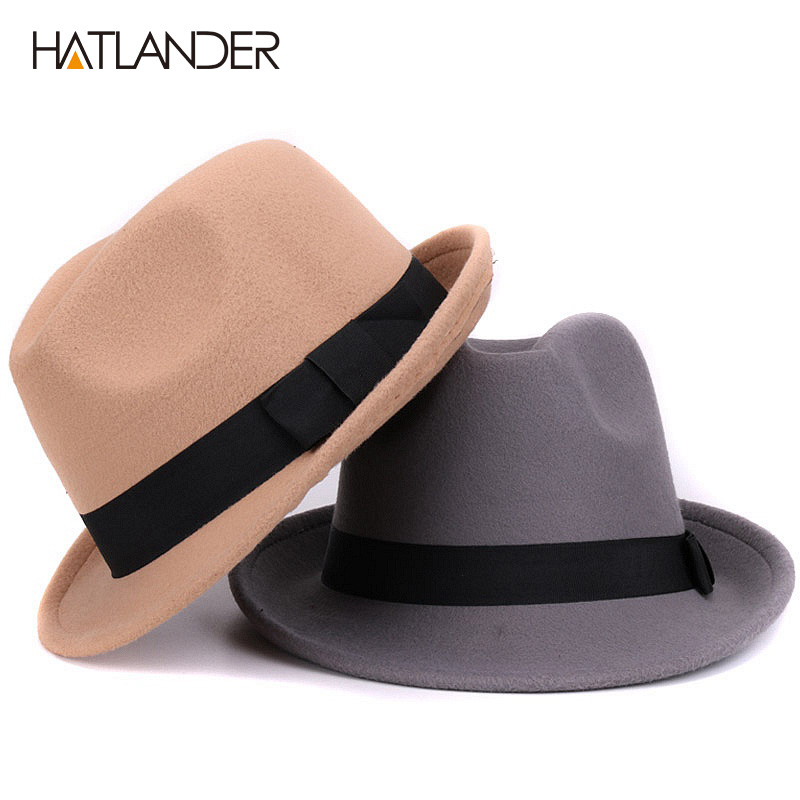 [HATLANDER]Solid boater artificial wool fedoras hat for women mens trilby Jazz caps gambler <font><b>church</b></font> bowler hat winter top hats image
