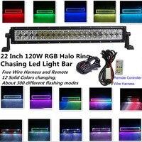 Honzdda 120W RGB Halo Ring Led Light Bar 22 Inch 12V Color Changing 300 Flashing Modes Strobe Light Bar for Truck Offroad ATV