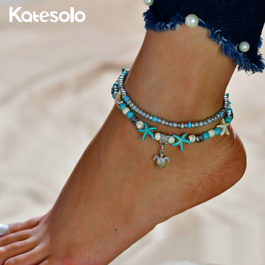 Vintage Turkish Bohemian Anklets For Women Boho Beach Foot Leg Chain Bracelet Sea Turtles Starfish snail Bracelets Anklet Summer