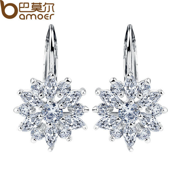 Bamoer Real Silver Color Stud Earrings Collection With Flower Shape Multicolor Aaa Zircon For