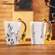 Kreative Akustische Gitarre Musik Porzellanbecher 240/400 ml Keramische Kaffeetasse Porzellan Tee Tasse Zakka Neuheit Für geschenk Cafe Büro