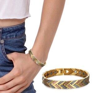 Image 5 - Rainso zdrowie bransoletka magnetyczna bransoletka dla kobiet gorąca sprzedaż bioenergetyczna bransoletka ze stali nierdzewnej złota biżuteria 2020