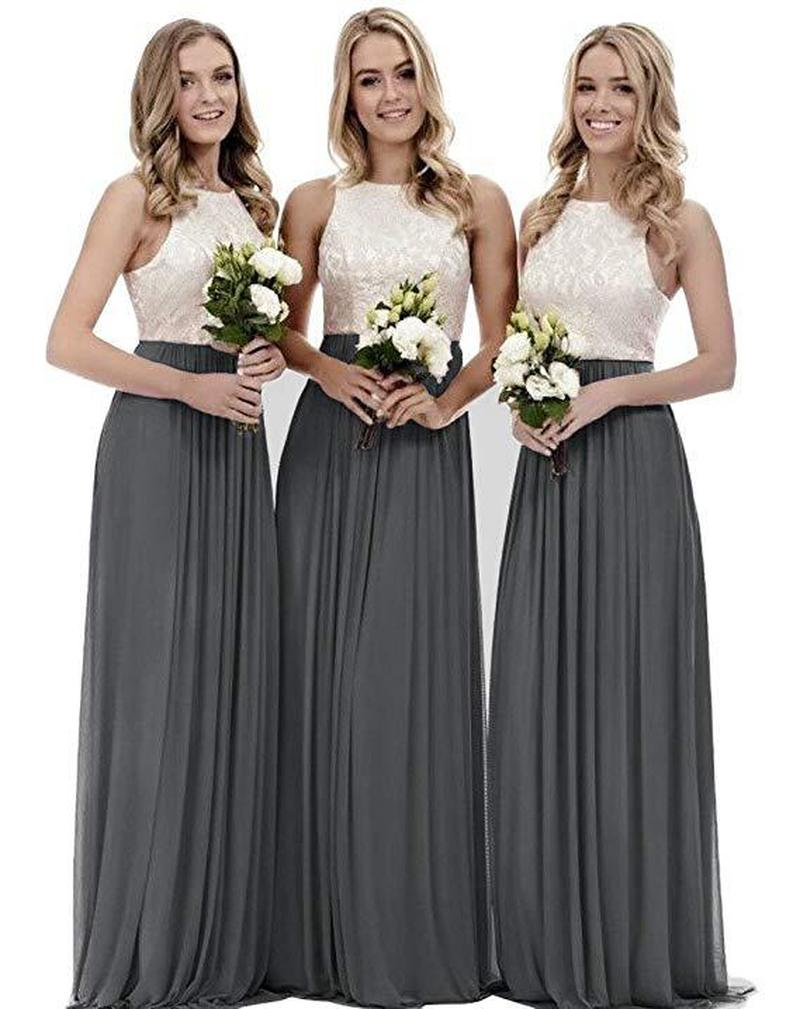Cheap   Bridesmaid     Dress   Wedding Guest Chiffon Maid Of Honor Gowns Hater Lace Silver Formal Women   Dresses   2019 Plus Size SMN14