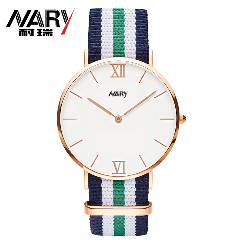 NARY Brand 2016 New Fashion Watch Women Elegant Color Nylon Strap Luksus Rose Gold Dial Casual Quartz Watch Ladies Populære Klokke