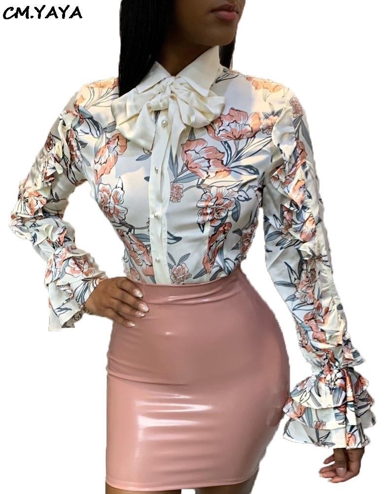 Larga Mujeres abajo Cuello Rrk193 Abrigo Camisas Pétalo Top Floral Nuevas Volantes Vintage Casual De Vuelta Moda Manga Las Pajarita Blusas Estampado Blanco Collar AqXf5