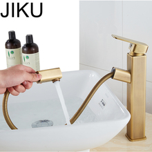 JIKU Bathroom Waterfall Faucets Bathroom Basin Faucet Brass Antique Single Handle Hot and Cold bathroom Sink Mixer Taps waterfall spout antique brass bathroom faucet vessel sink mixer basin faucets single handles taps wnf067