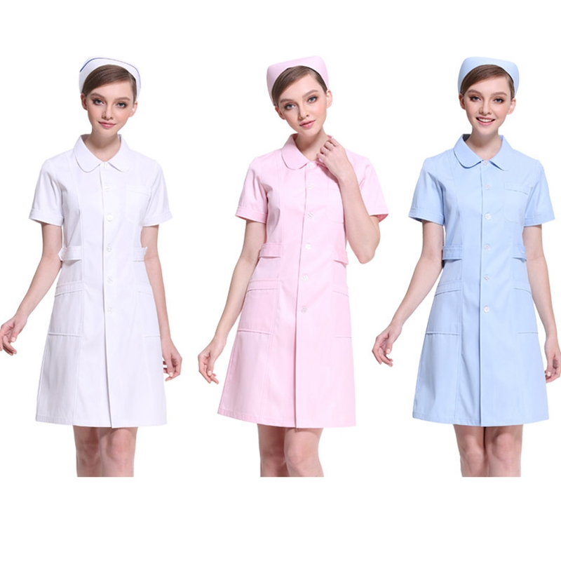 2019 Hospital medical scrub clothes fashionable design slim fit dental scrubs short sleeve overall doctor unform white cloth