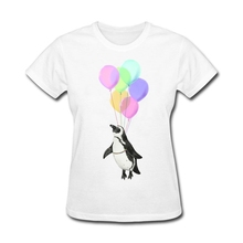 Woman Discount I believe I can fly T-Shirt Make your Own New Year Gifts Tops sexy women Purple Flying Penguin tshirts Screw Neck