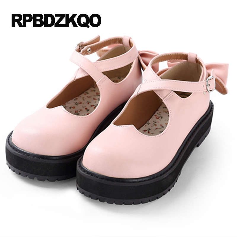 Kawaii Mary Jane Muffin Platform White Women Flats Shoes With Little Cute Bowtie Lolita Pink Japanese School 2017 Thick Sole Bow japanese mary jane big bow flats soft suede black pointy women dress shoes ladies pointed toe cute 2018 kawaii velvet european