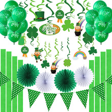Irish Green St Patricks Day Party Decorations Haging Swirl Shamrock Latex Balloons Paper Fans Polka Dot Pennant Flag