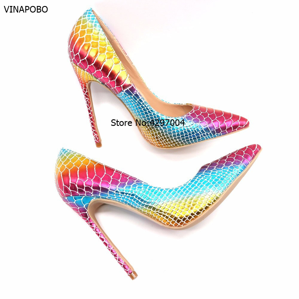 daf228bde03 US $34.99 40% OFF|New Arrival Sexy Rainbow Snake Skin Shallow Women's Party  Shoes Mixed Colors PU Leather Pointed Toe High Heels Shoes Women Pumps-in  ...