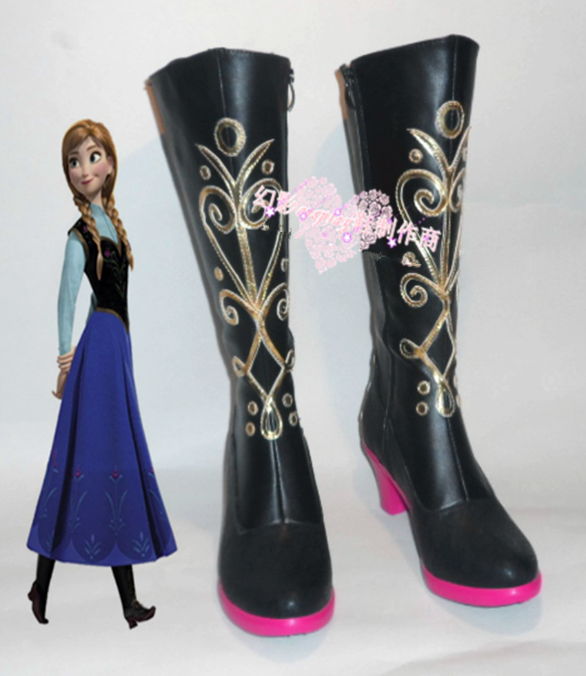 Принцесса Анна Сапоги и ботинки для девочек Косплэй Анна Обувь женские Сапоги и ботинки для девочек Custum