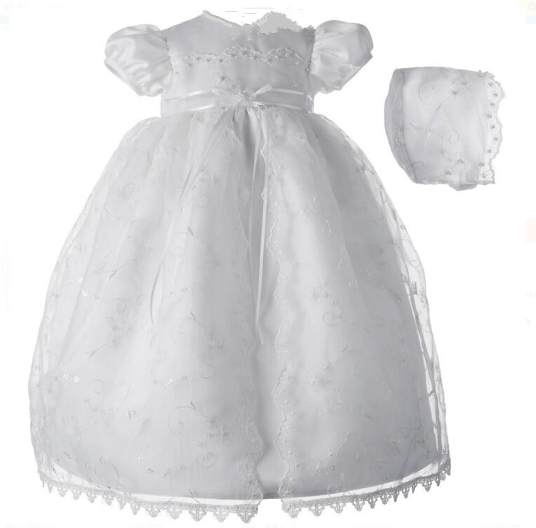 Lolita Newborn Baby Girl Christening Dress Baptism Gown White/Ivory Lace Applique Robe WITH BONNET 0-24Month