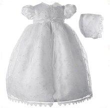Лолита новорожденного девочку крестины платья крещение платье белый / слоновая кость кружева аппликация халат с капота 0-24Month