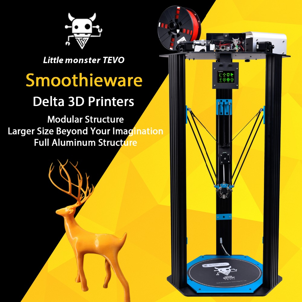 2017 Popular TEVO Delta DIY 3D Printer Kit TEVO Little Monster High Speed  Big Printing Area D340xH500mm /Smoothieware &BLtouch