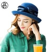 FS 100% Yün Keçe Fedoras Şapka Zarif Mor Mavi Ilmek tasarım Sonbahar Kış Geniş Birm Bowler Disket Bayanlar Churh Cloche şapka