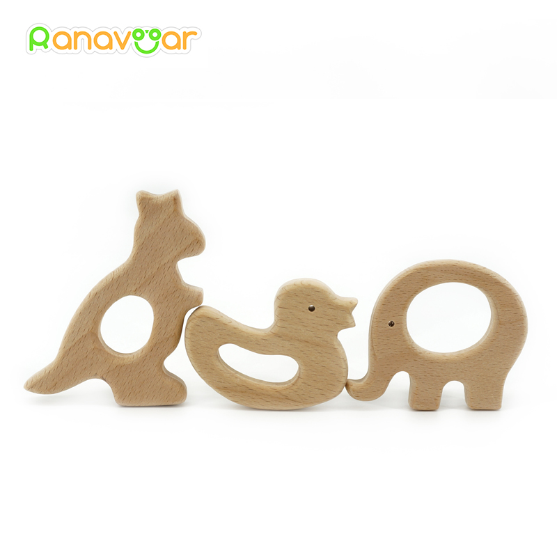 Ranavoar New Wooden Teethers 10pcs/5pcs Nature Baby Teething Toy Organic Eco-friendly Wood Teething Holder Nursing Baby Teether