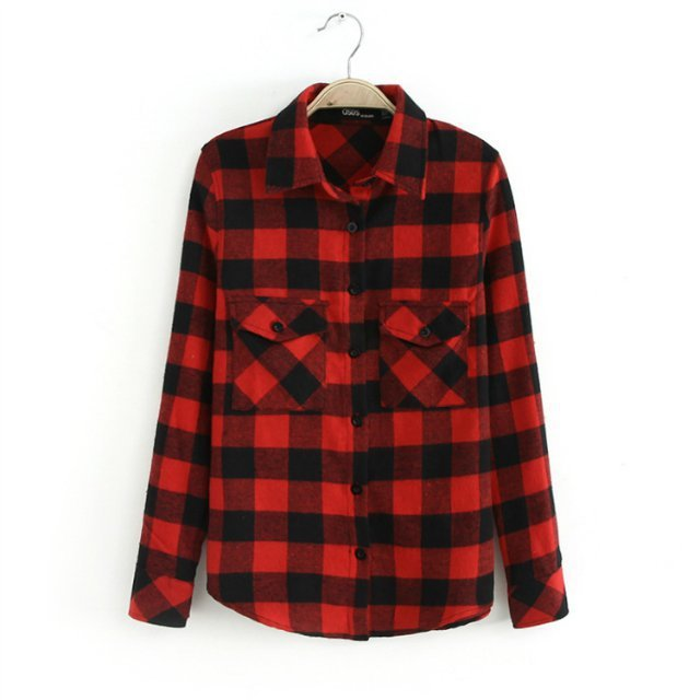 Autumn winter 2015 red and black flannel ladies plaid Womens red plaid shirts blouses