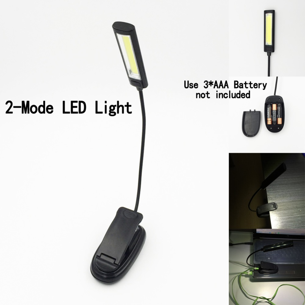 Mini COB LED-klips på justerbar boglæsning lyslampe Super Bright til Kindle PVC og legeringer Touch USB bord Light
