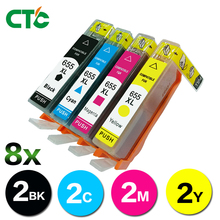 8 Compatibl for HP 655 655XL BK C M Y 4 color ink cartridge For hp Deskjet 3525 4615 4625 5525 6520 6525 printer full ink chip
