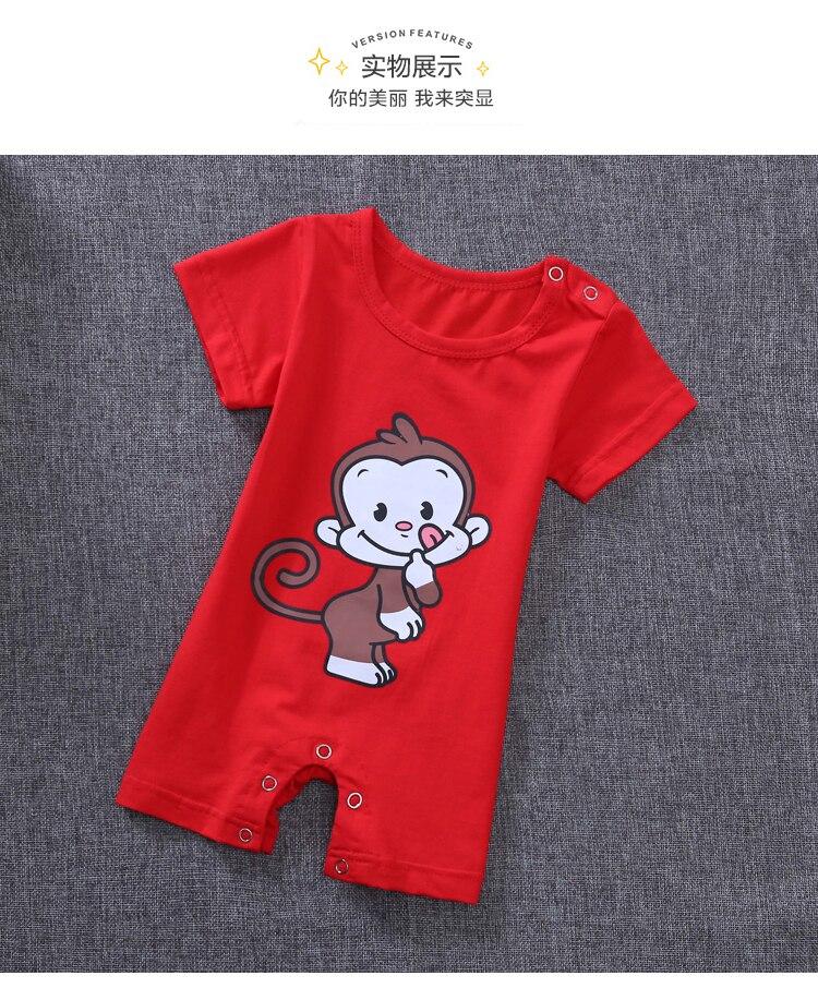 Детские пижамы цельная Пижама для мальчиков, Пижама для девочки, летняя одежда для отдыха, комбинезоны, одежда для сна от 0 до 3 месяцев - Цвет: Красный