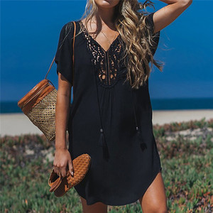 Image 2 - Fanbety  Plus size Tassels Beach Wear dress Women Swimsuit Cover Up Bathing  Summer Mini Dress Loose Solid Pareo Cover up dress