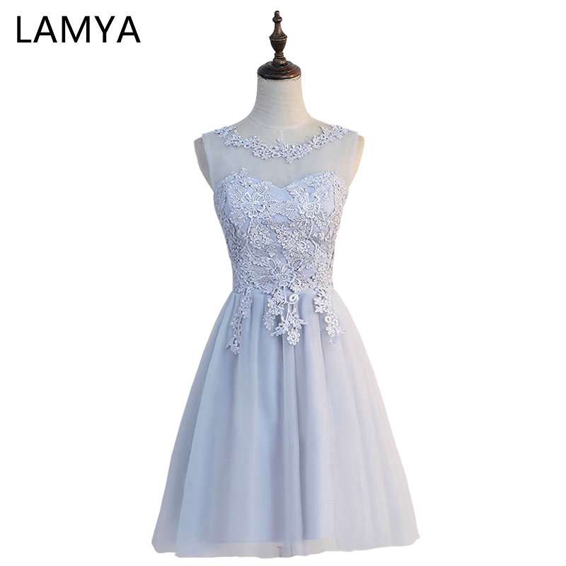LAMYA Short Cheap Elegant A Line Tulle   Prom     Dresses   2018 Ajust Lace Evening Party   Dress   Plus Size Special Occasion Gowns