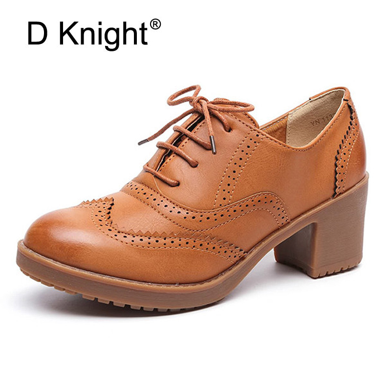 Vintage Women Oxfords British Square High Heels Casual Lace-Up Ladies Brogue Shoes Woman Handmade Oxford Shoes For Women Pumps ladies casual platform wedges oxford shoes for women metallic pu cut outs women high heels summer brogue oxfords shoes woman