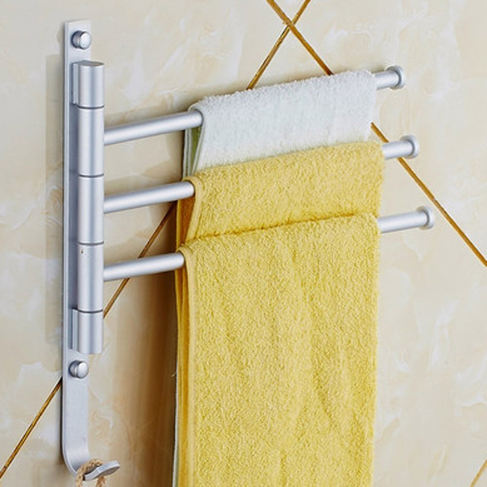 LHLL Wall mounted Towel Rack 3 Rotary Bar Bathroom Towels Holder ...