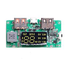 3.7V Boost 5V High Pass QC3.0 Fast Charge Board, Digital Power Display, Mobile Power Circuit Board