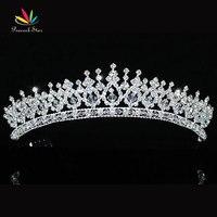 Peacock estrella dama de honor nupcial de la boda calidad prom Pageant Crystal espumoso austriaco tiara CT1543