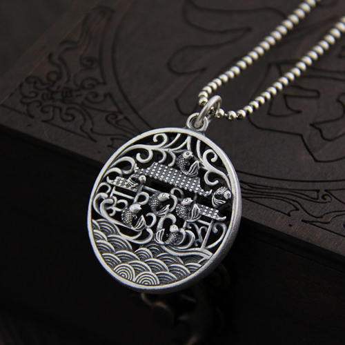 990 Sterling Silver Jewelry Pendant Simple and Delicate Fish Gantry Pattern Jewelry for Men Women 990 Sterling Silver Jewelry Pendant Simple and Delicate Fish Gantry Pattern Jewelry for Men Women