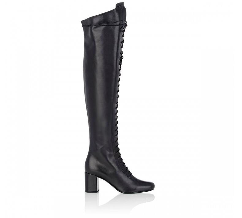 купить 2017 America square Heel Chunky Lace Up black leather women booties Spring over the knee Boots Lady bota salto alto 35-42 SMSQ06 дешево