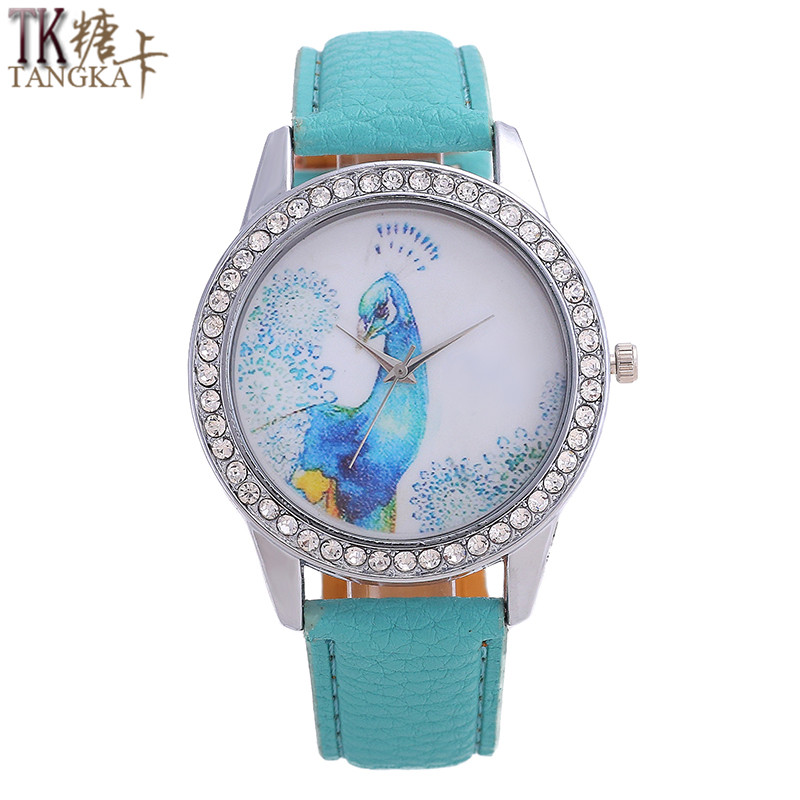 TANGKA Women's Quartz Watch Simple Style Inlaid Diamonds Blue Peacock Icon Digital Pointer Mirror Fashion Leather Watch