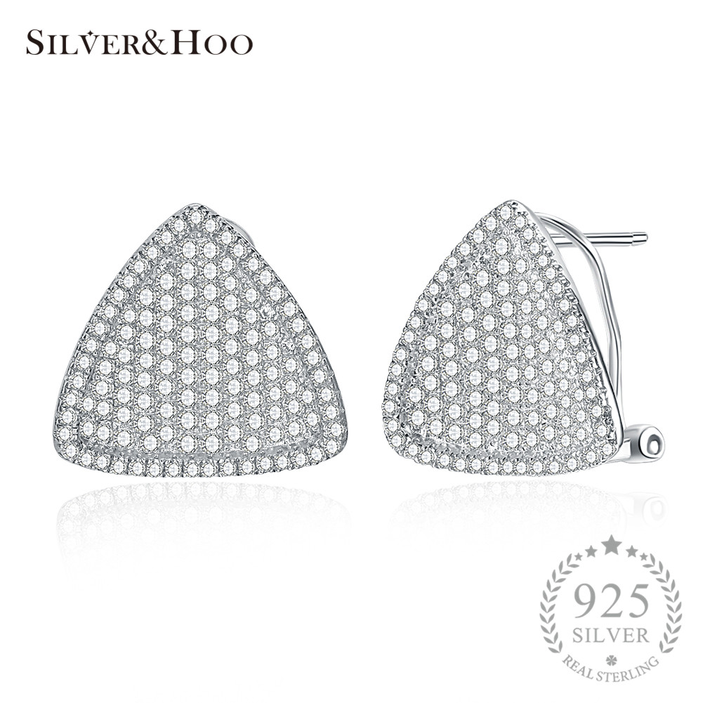 SILVERHOO Fine Jewelry 925 Sterling Silver Geometric Triangle Stud Earrings Tendy Office Earrings For Women Female Wholesale