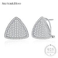 SILVERHOO Fine Jewelry 925 Sterling Silver Geometric Triangle Stud Earrings Tendy Office Earrings For Women Female Wholesale