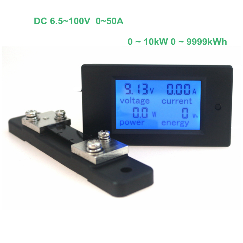 Digital Voltage Current Power Energy Meter Voltmeter Ammeter Volt Ampere DC 6.5-100V 50A with DC 50A/75mV Shunt hote sale dc 0 50a dc 0 1000v dc voltage and ampere meter with current shunt 96 48mm dc volt