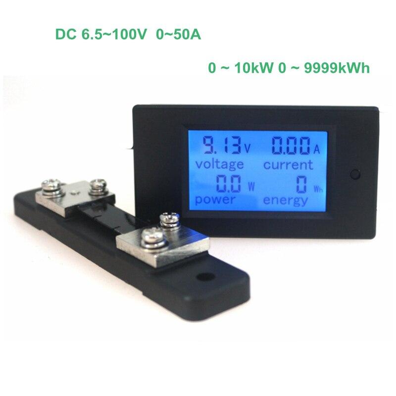 Digital voltaje corriente potencia energía voltímetro amperímetro voltios amperios CC 6.5-100 V 50A con DC 50A/ 75mV derivación