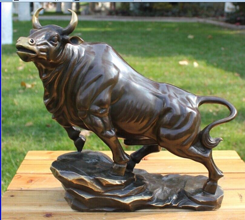 Livraison 12 Chine Bronze Cuivre Art Décoration Sculpture Chanceux Bull Vache Bovins OX Statue rapide