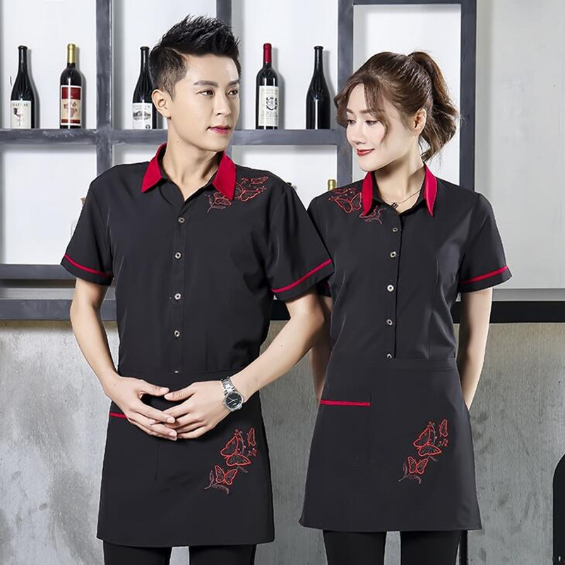 Women Restaurant Uniform Hotel Waitress Workwear Short-sleeved Hot Pot Shop Barbecue Shops Catering Waiter Male Overalls H2255