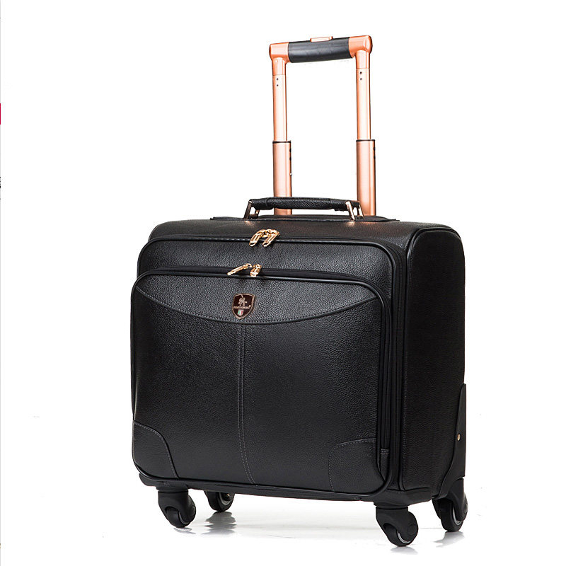 Wholesale!High Quality Red/black Genuine Leather Trolley Luggage On Universal Wheels,16inches Male And Female Cow Leather Bags